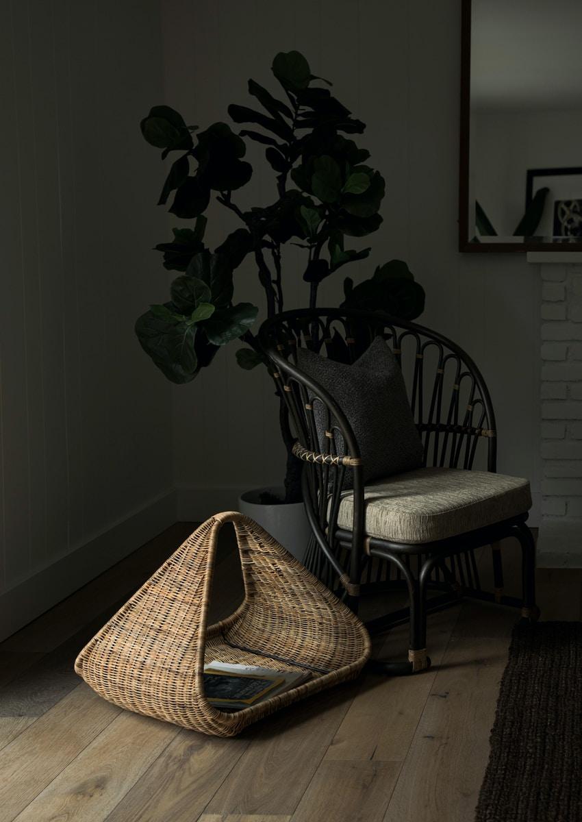 brown wicker basket on brown wooden table